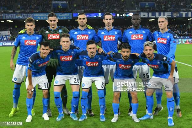 Napoli's Mexican forward Hirving Lozano, Napoli's Polish defender Piotr Zielinski, Napoli's Portuguese defender Mario Rui, Napoli's Italian forward...