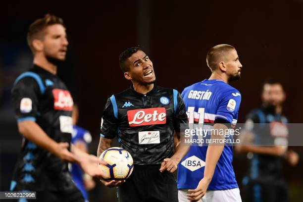 Napoli's midfielder Allan from Brazil reacts during the Italian Serie A football match Sampdoria vs Napoli on September 2 2018 at the Luigi Ferraris...