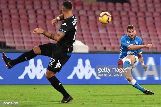 Napoli's midfielder Fabian Ruiz from Spain kicks the ball during the Italian Serie A football match Napoli vs Empoli at San Paolo stadium in Naples...