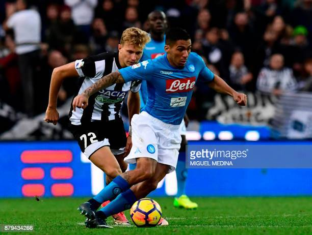 Napoli's midfielder from Brazil Allan vies with Udinese's midfielder Antonin Barak during the Italian Serie A football match Udinese vs Napoli at the...