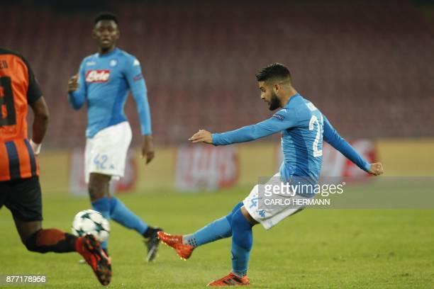 Napoli's midfielder from Italy Lorenzo Insigne scores during the UEFA Champions League Group F football match Napoli vs Shakhtar Donetsk on November...