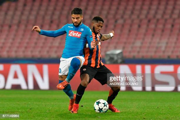 Napoli's midfielder from Italy Lorenzo Insigne vies with Shakhtar Donetsk's Brazilian midfielder Fred during the UEFA Champions League Group F...