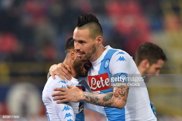 Napoli's midfielder from Slovakia Marek Hamsik celebrates after scoring a goal with Napoli's midfielder from Italy Lorenzo Insigne during the Italian...