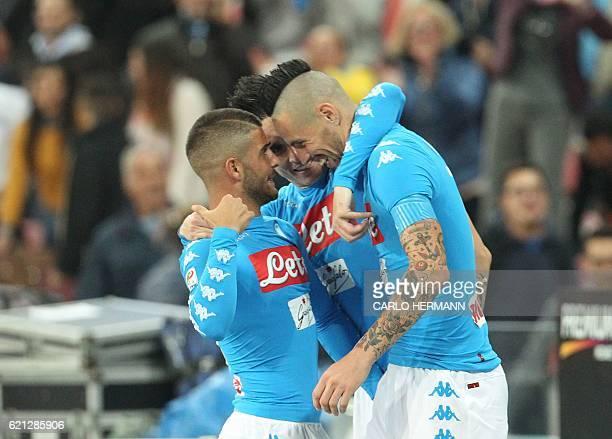 Napoli's midfielder from Slovakia Marek Hamsik celebrates after scoring during the Italian Serie A football match SSC Napoli vs SS Lazio on November...