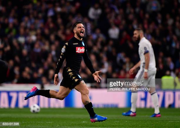 TOPSHOT Napoli's midfielder Lorenzo Insigne celebrates a goal during the UEFA Champions League round of 16 first leg football match Real Madrid CF vs...