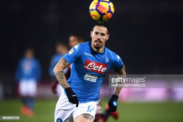 Napoli's midfielder Marek Hamsik from Slovakia eyes the ball during the Italian Serie A football match Torino Vs Napoli on December 16 2017 at the...