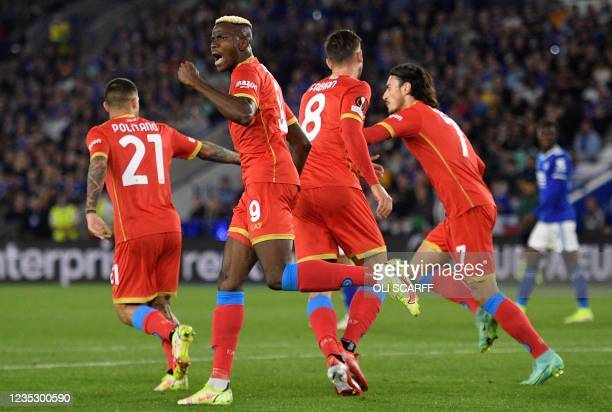 Napoli's Nigerian forward Victor Osimhen celebrates scoring his team's first goal during the UEFA Europa League Group C football match between...