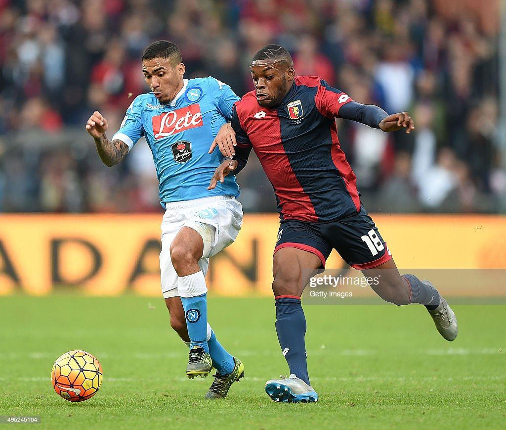 Napoli's player Allan vies with Genoa player Olivier Ntcham during the Serie A match between Genoa CFC and SSC Napoli at Stadio Luigi Ferraris on November 1, 2015 in Genoa, Italy.