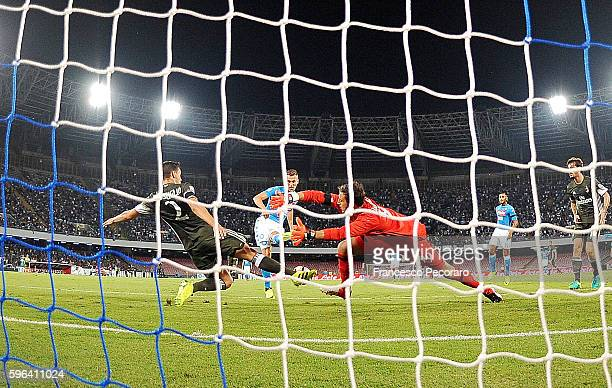 Napoli's player Arkadiusz Milik scores the goal of 10 during the Serie A match between SSC Napoli and AC Milan at Stadio San Paolo on August 27 2016...