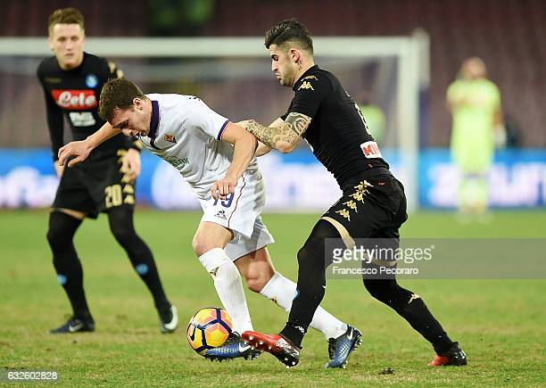 Napolis player Elseid Hysaj vies with ACF Fiorentina player Sebastian Cristoforo during the TIM Cup match between SSC Napoli and ACF Fiorentina at...