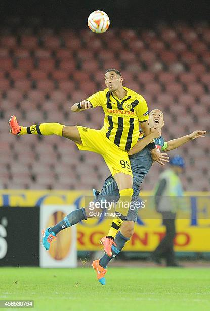 Napoli's player Gokhan Inler vies with Young Boys's player Guillaume Hoarau during the UEFA Europa League football match between SSC Napoli and BSC...