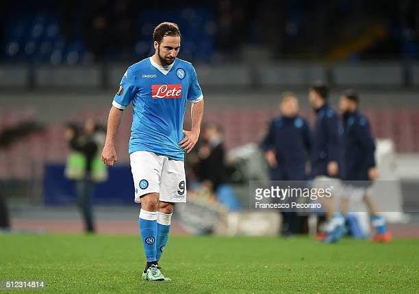 Napoli's player Gonzalo Higuain stands disappointed the UEFA Europa League Round of 32 second leg match between SSC Napoli and Villarreal FC on...