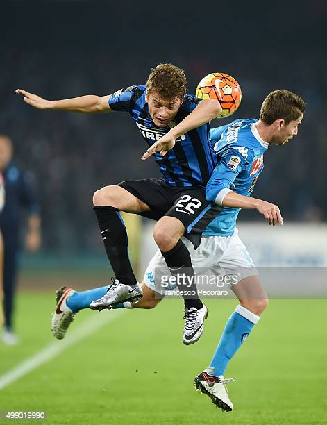 Napoli's player Jorginho vies with FC Internazionale Milano player Adem Ljajic during the Serie A match between SSC Napoli and FC Internazionale...