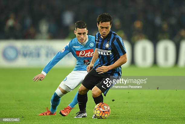 Napoli's player Josè Maria Callejon vies with FC Internazionale Milano player Yuto Nagatomo during the Serie A match between SSC Napoli and FC...