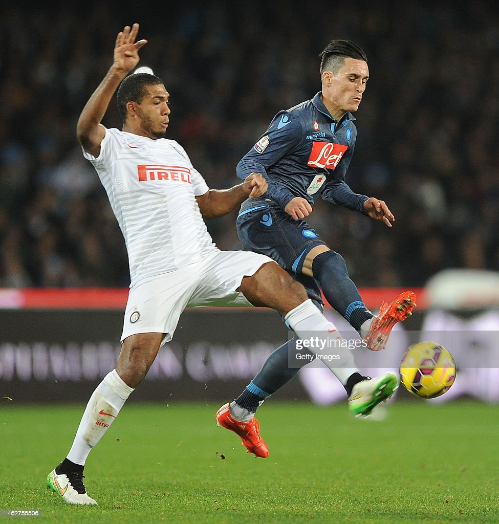 Napoli's player Josè Maria Callejon vies with FC Internazionale player Juan Jesus during the TIM CUP match between SSC Napoli and FC Internazionale at the San Paolo Stadium on February 4 2015 in Naples, Italy.