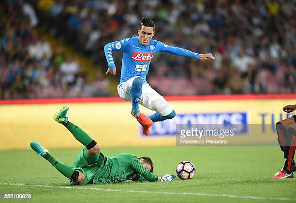 Napoli's player Josè Maria Callejon vies with OGC Nice player Mouez Hassen during the preseason friendly match between SSC Napoli and OGC Nice at...