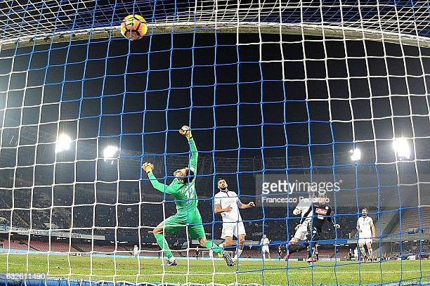 Napolis player Jose Callejon scores the 1-0 goal during the TIM Cup match between SSC Napoli and ACF Fiorentina at Stadio San Paolo on January 24,...