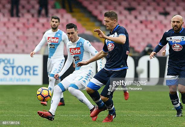 Napolis player Jose Callejon vies with Pescara Calcio player Andrea Coda during the Serie A match between SSC Napoli and Pescara Calcio at Stadio San...