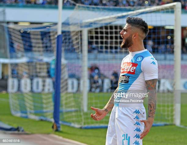 Napolis player Lorenzo Insigne celebrates after scoring goal 10 during the Serie A match between SSC Napoli and FC Crotone at Stadio San Paolo on...