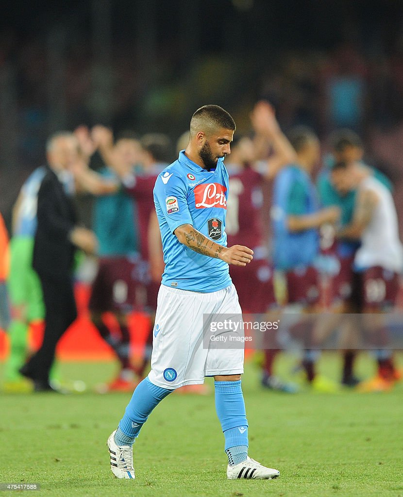 Napoli's player Lorenzo Insigne looks dejected during the Serie A match between SSC Napoli and SS Lazio at Stadio San Paolo on May 31, 2015 in Naples, Italy.