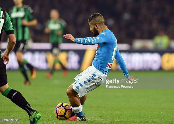 Napolis player Lorenzo Insigne scores the 10 goal during the Serie A match between SSC Napoli and US Sassuolo November 28 2016 in Naples Italy