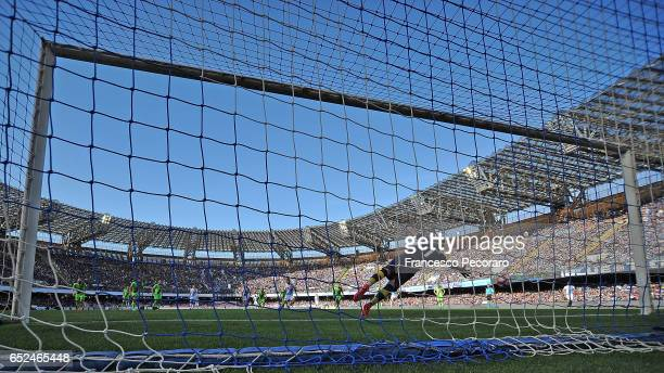 Napolis player Lorenzo Insigne scores the 10 goal during the Serie A match between SSC Napoli and FC Crotone at Stadio San Paolo on March 12 2017 in...