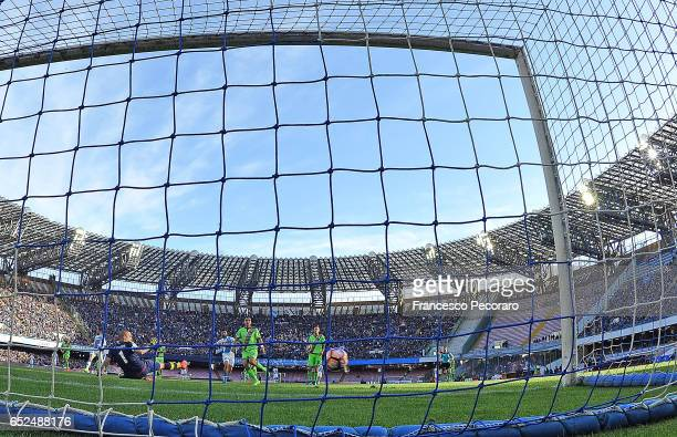Napolis player Lorenzo Insigne scores the 30 goal during the Serie A match between SSC Napoli and FC Crotone at Stadio San Paolo on March 12 2017 in...
