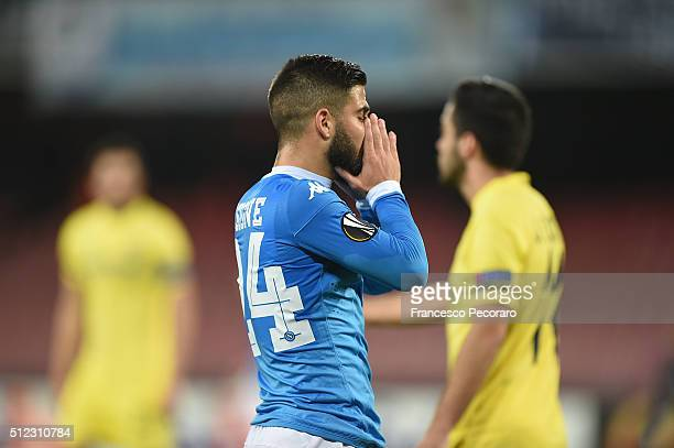 Napoli's player Lorenzo Insigne stands disappointed the UEFA Europa League Round of 32 second leg match between SSC Napoli and Villarreal FC on...