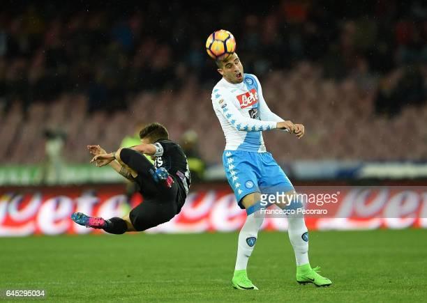 Napolis player Nikola Maksimovic vies with Atalanta BC player Papu Gomez during the Serie A match between SSC Napoli and Atalanta BC at Stadio San...