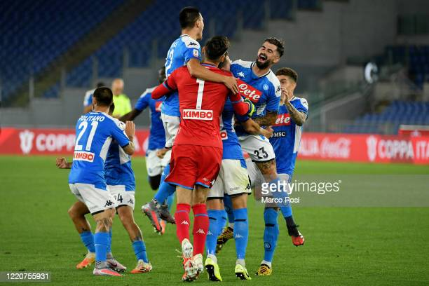 Napoli's players celebrating the winning of the Coppa Italia after the Coppa Italia Final match between Juventus and SSC Napoli winner at Olimpico...