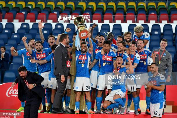Napoli's players celebrating the winning of the Coppa Italia before the Coppa Italia Final match between Juventus and SSC Napoli at Olimpico Stadium...