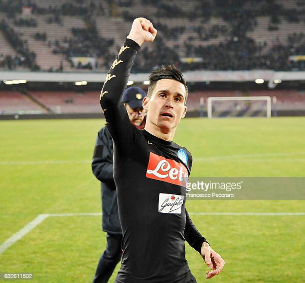 Napoli's players Jose Callejon celebrates the victory after the TIM Cup match between SSC Napoli and ACF Fiorentina at Stadio San Paolo on January 24...