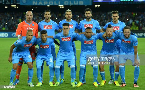 Napoli's players pose before the group F Champions League football match SSC Napoli vs Borussia Dortmund on September 18 2013 at San Paolo stadium in...
