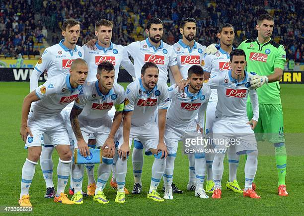 SSC Napoli's players pose during the UEFA Europa League semifinal second leg football match between FC Dnipro and SSC Napoli in Kiev on May 14 2015...