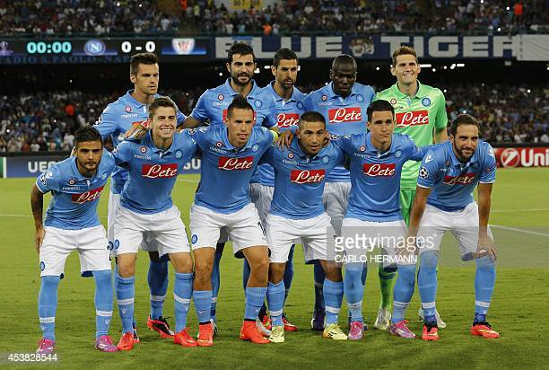 Napoli's players pose prior to the first leg of the UEFA Champions League play off football match between SSC Napoli and Bilbao Athletic Club in San...