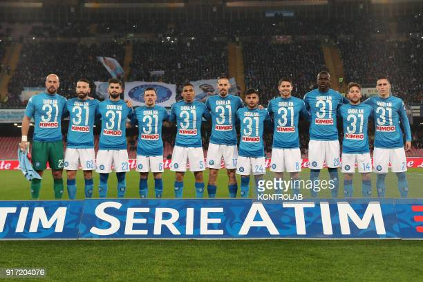 STADIUM NAPLES CAMPANIA ITALY napoli's players wear the jersey of injured teammate Algerian defender Faouzi Ghoulam during the Italian Serie A...