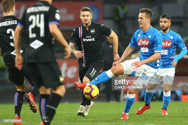 Napoli's Polish forward Arkadiusz Milik controls the ball during the Italian Serie A football match Napoli vs Sampdoria on February 2 2019 at the San...