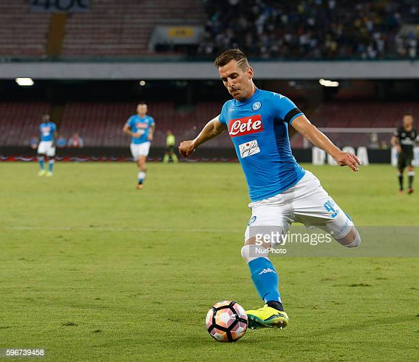 Napoli's Polish forward Arkadiusz Milik in action during the Italian Serie A football match SSC Napoli versus AC Milan on August 27 2016 at the San...