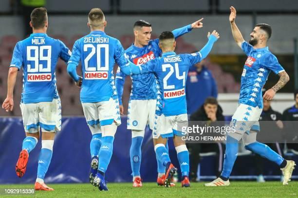 Napoli's Polish forward Arkadiusz Milik Napoli's Polish midfielder Piotr Zielinski Napoli's Spanish forward Jose Callejon Napoli's Italian forward...