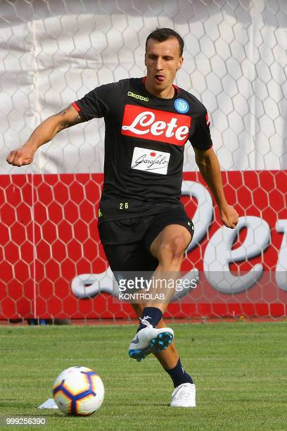 Napoli's Romanian defender Vlad Chiriches is training during the preseason praparation on July 13 2018 at Carciato pitch