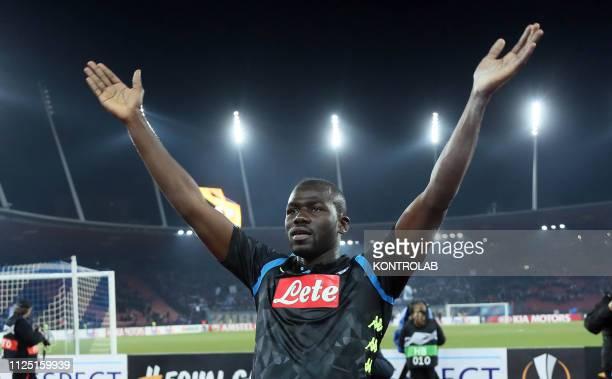 STADIUM ZURICH SWITZERLAND Napoli's Senegalese defender Kalidou Koulibaly celebrate at the end of the UEFA Europa League Round of 16 first leg...