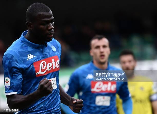 Napoli's Senegalese defender Kalidou Koulibaly celebrates after opening the scoring during the Italian Serie A football match Chievo Verona vs Napoli...
