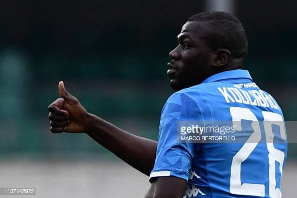 Napoli's Senegalese defender Kalidou Koulibaly celebrates after opening the scoring during the Italian Serie A football match Chievo Verona vs Napoli...