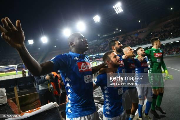 Napoli's Senegalese defender Kalidou Koulibaly Napoli's Belgian forward Dries Mertens Napoli's Spanish defender Raul Albiol Napoli's Slovak...
