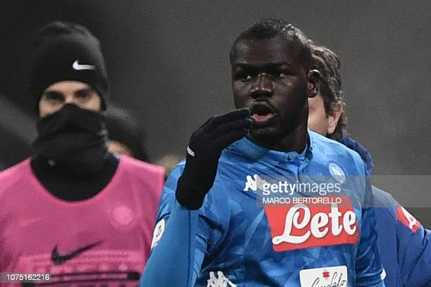 Napoli's Senegalese defender Kalidou Koulibaly reacts after receiving a red card during the Italian Serie A football match Inter Milan vs Napoli on...