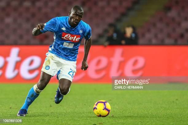 Napoli's Senegalese defender Kalidou Koulibaly runs with the ball during the Italian Serie A football match Napoli vs Sampdoria on February 2, 2019...