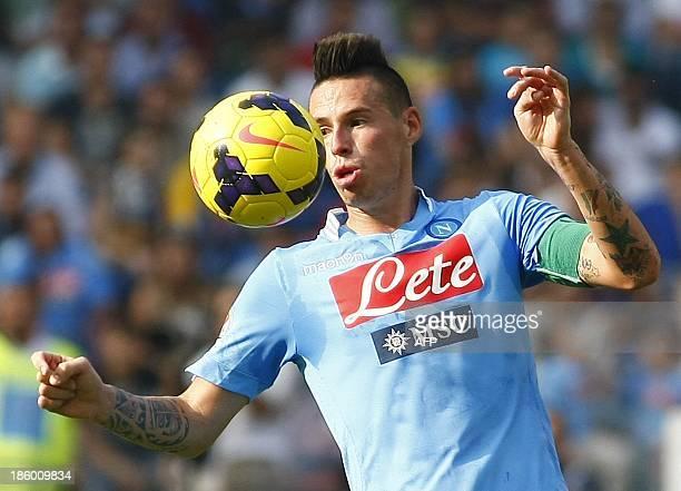 Napoli's Slovak forward Marek Hamsik controls the ball during the Italian Serie A football match SSC Napoli vs Torino FC in San Paolo Stadium on...