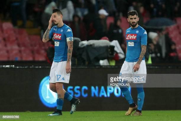STADIUM NAPLES CAMPANIA ITALY Napoli's Slovakian midfielder Marek Hamsik and Napoli's Albanian defender Elseid Hysaj react at the end of the Italian...