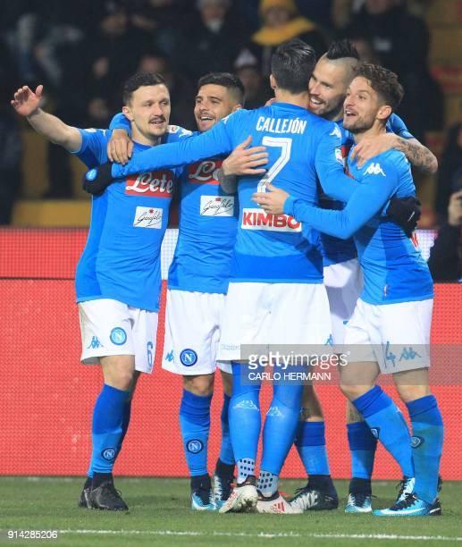 Napoli's Slovakian midfielder Marek Hamsik celebrates with teammates after scoring a goal during the Italian Serie A football match SSC Napoli vs...