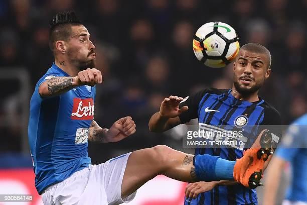 Napoli's Slovakian midfielder Marek Hamsik fand Inter Milan's Brazilian forward Rafinha go for the ball during the Italian Serie A football match...